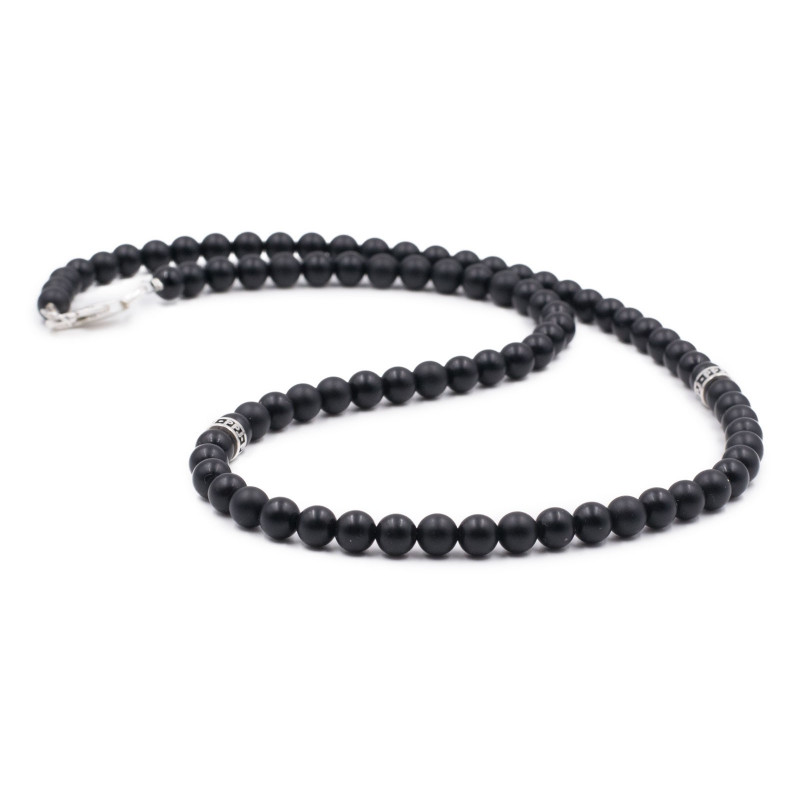 Collier homme PPJ onyx 6 mm