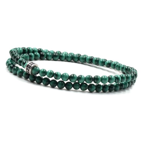 Bracelet homme PPJ 2 tours malachite 4 mm