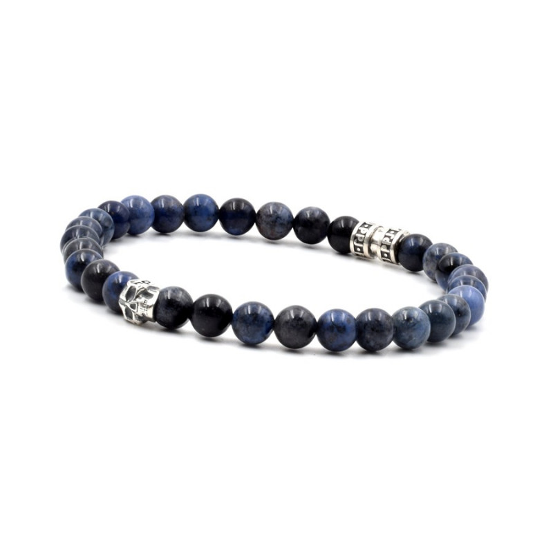 Bracelet skull deep blue en 6 mm